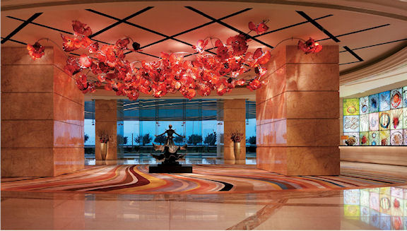 Dale Chihuly's striking red, Fiori Di Paradiso Ceiling, glass installation measures 17 meters long and 9 meters wide