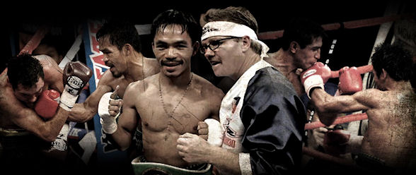 (left to right) Pacquiao upsets superstar Oscar De La Hoya in 2008; with coach Freddie Roach; defeating Mexico's Erik Morales