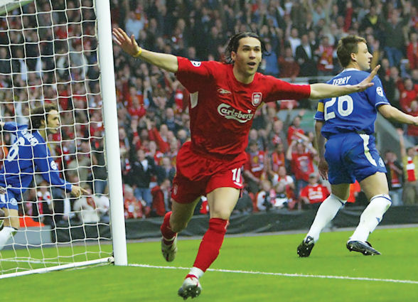 Luis Garcia scores the 'ghost goal' that put Liverpool through to the 2005 Champions League final